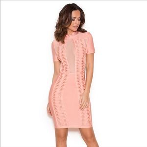 House Of CB 'Rayane' peach bandage dress